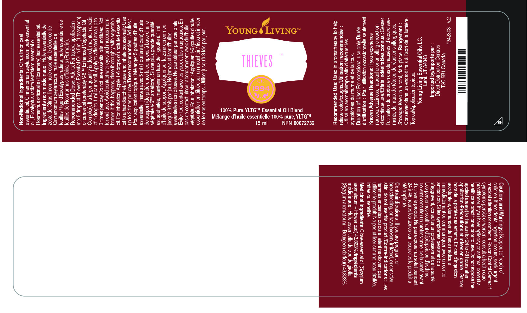 This is an image of Comprehensive Young Living Thieves Cleaner Label