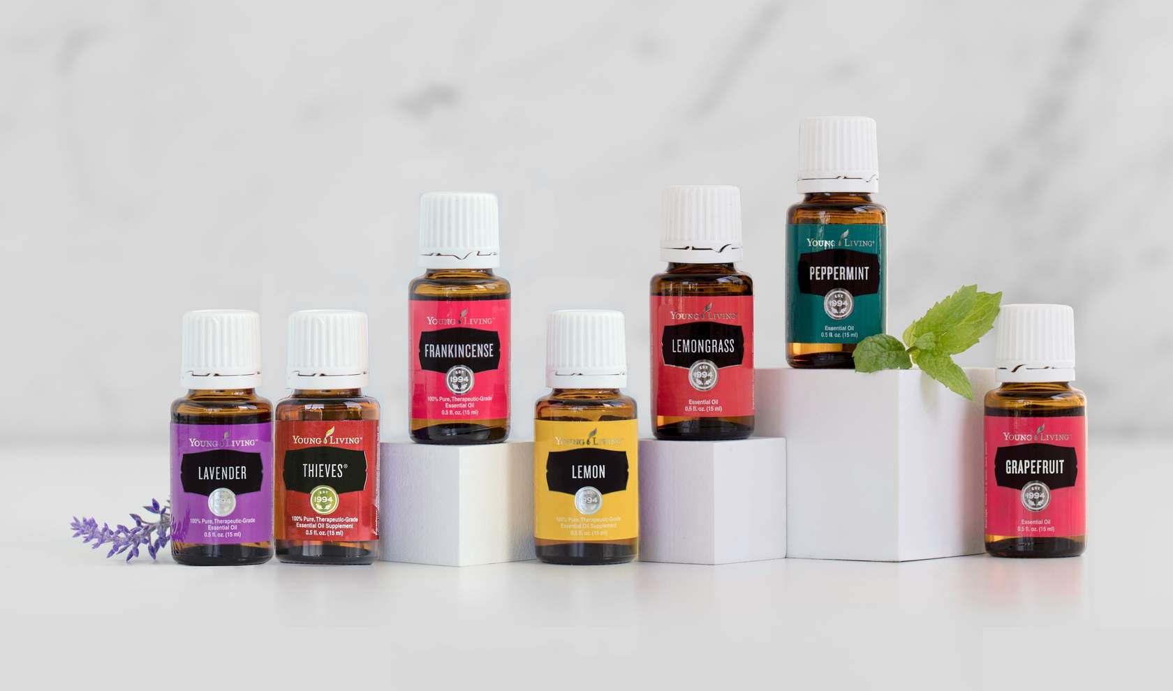 a variety of seven essential oils