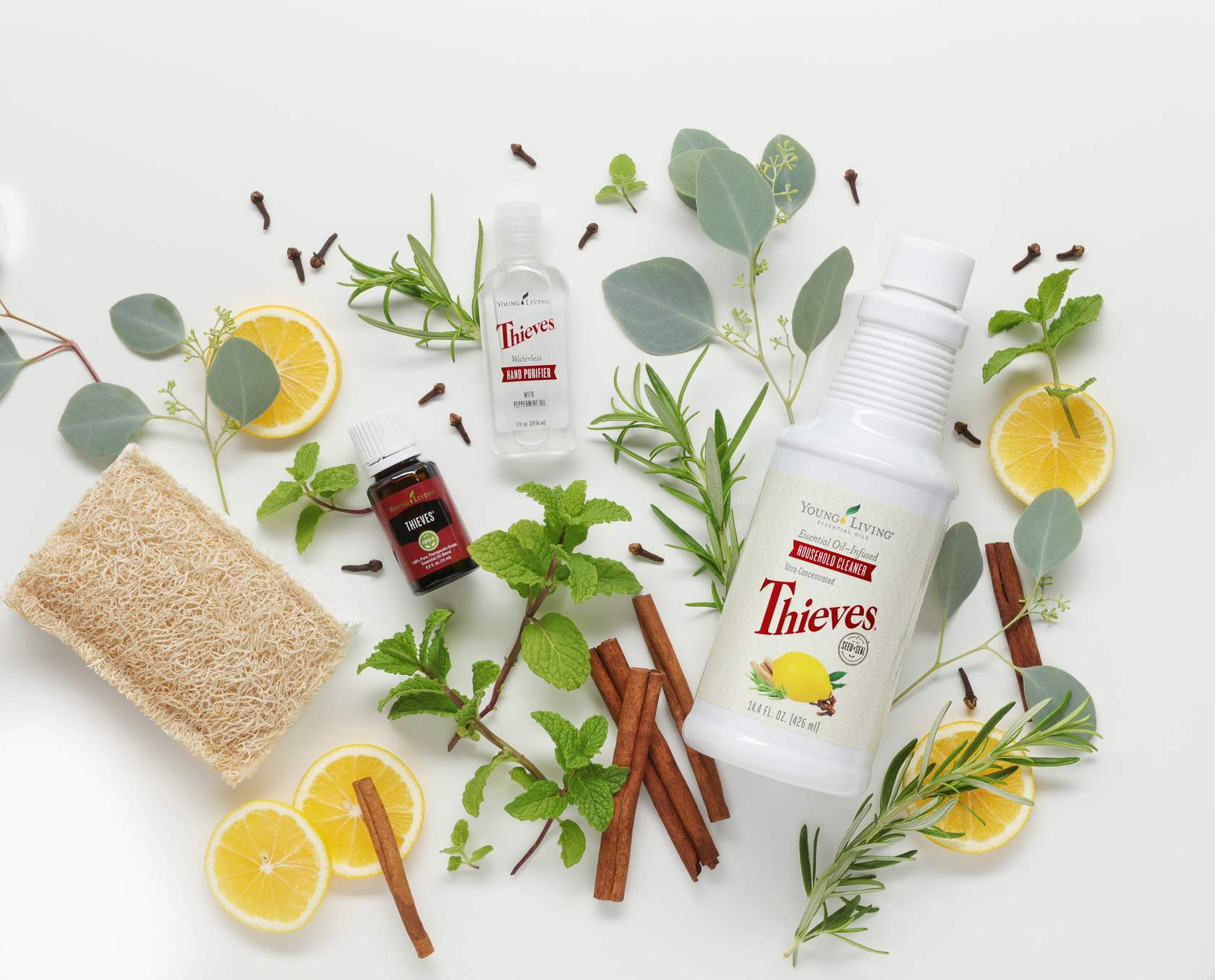 thieves products with lemon and cinnamon