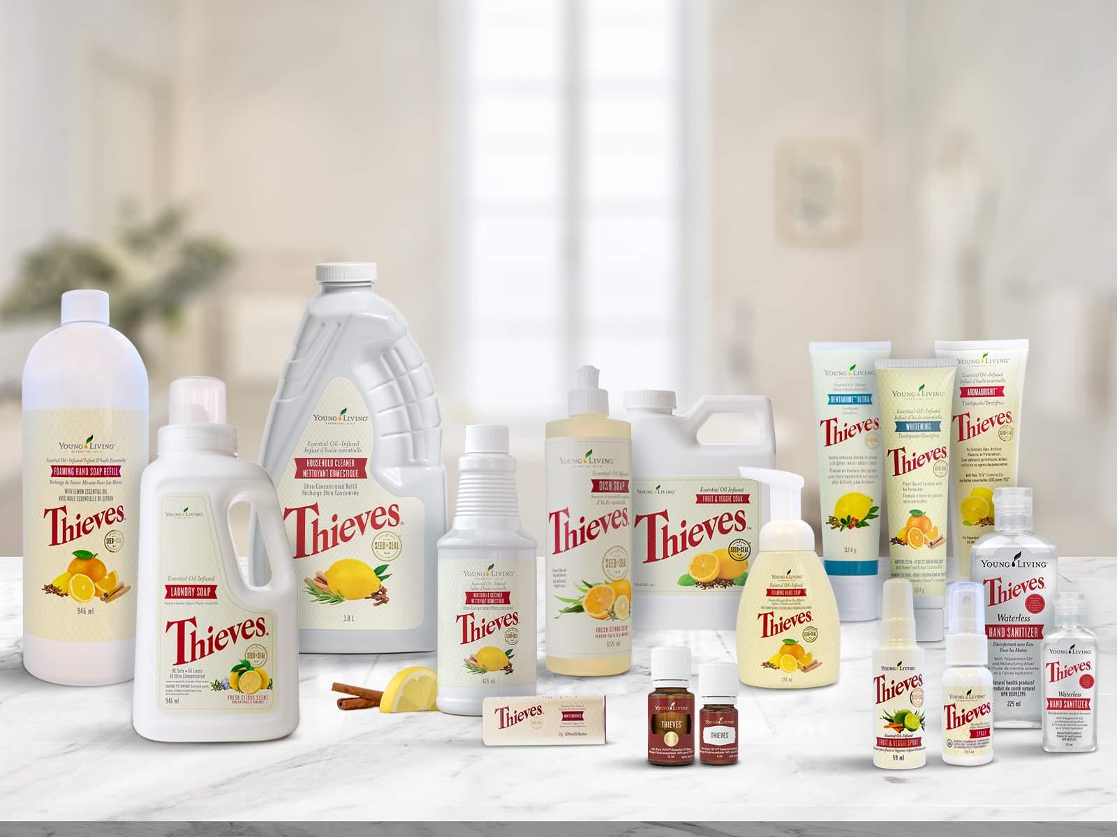 La gamme de produits Thieves : Fabriqués à partir d'ingrédients à base de plantes !