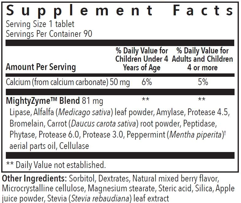 Supplement Information - KidScents - MightyZyme Chewable Tablets